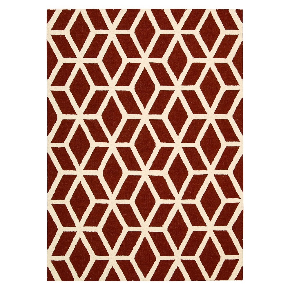 "Image of ""Nourison Kinetic Linear Area Rug - Red Brick/Ivory (7'6""""X9'6"""")"""