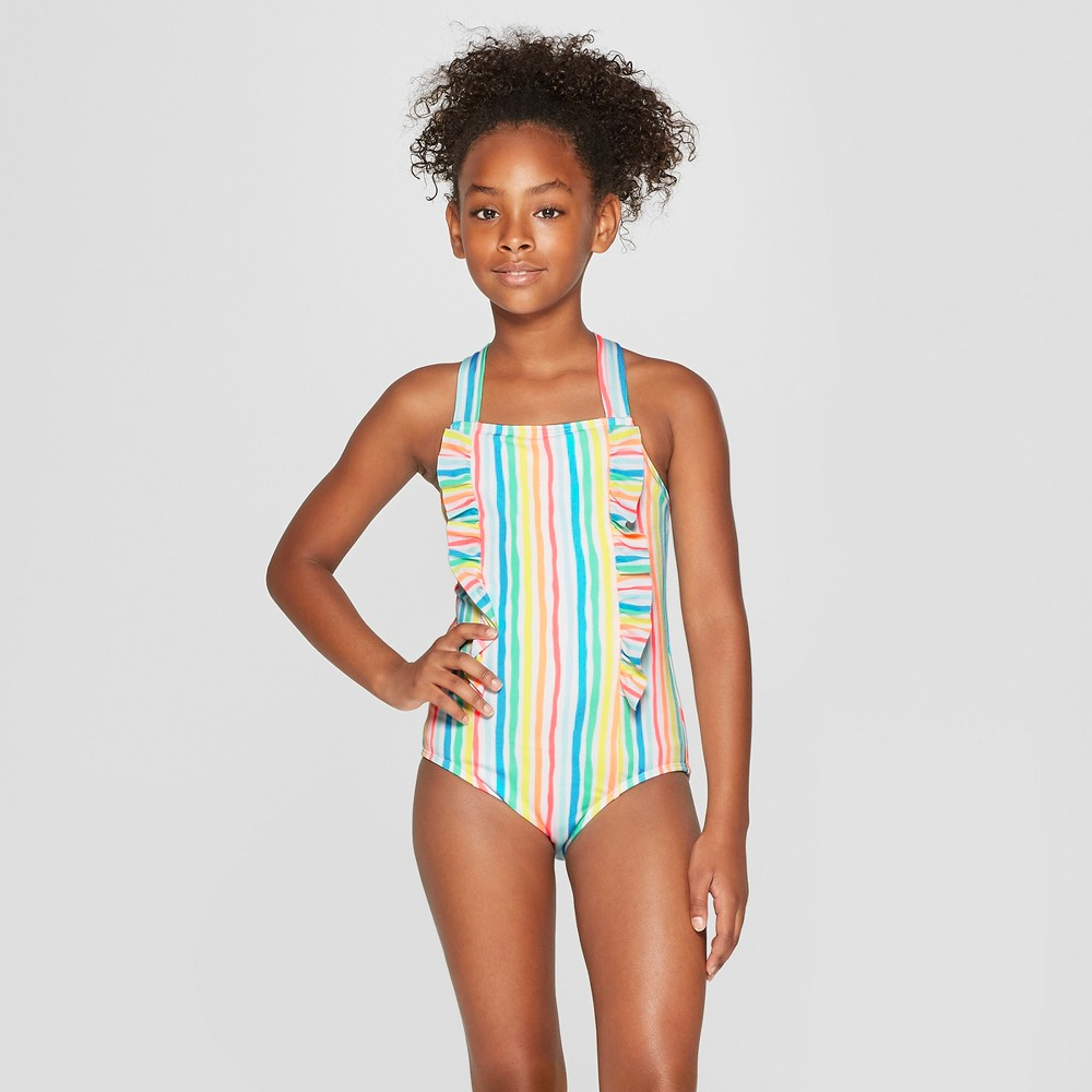 Girls' Rainbow Stories One Piece Swimsuit - Cat & Jack M, White