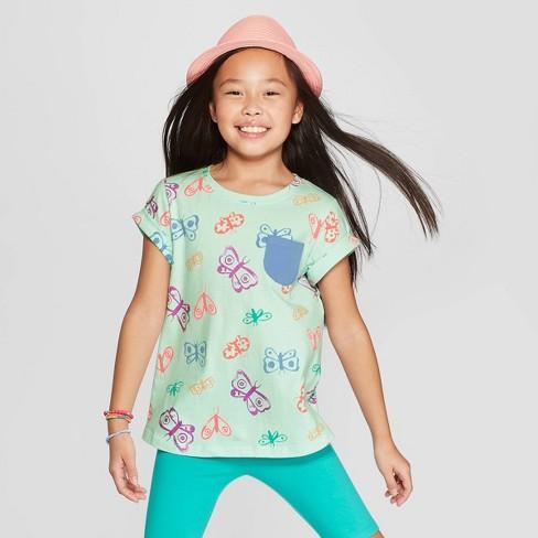 b4a86a1a176 Girls  Short Sleeve Butterfly Print Pocket T-Shirt - Cat   Jack™ Green    Target