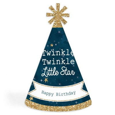 Big Dot of Happiness Twinkle Twinkle Little Star - Cone Happy Birthday Party Hats for Kids and Adults - Set of 8 (Standard Size)