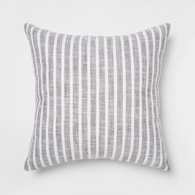 Woven Stripe Square Throw Pillow Gray - Threshold™