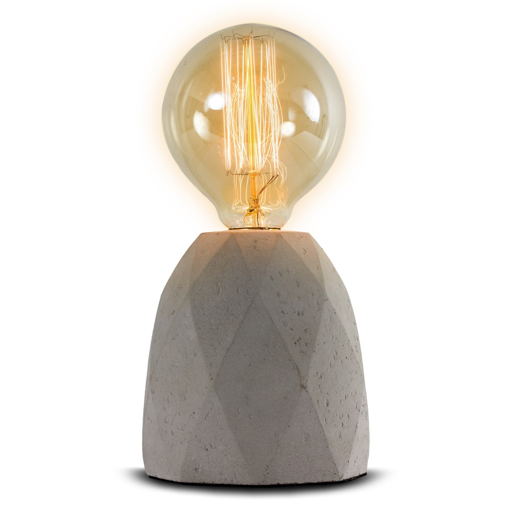 Image of 9 Gray Concrete Table Lamp - Crystal Art