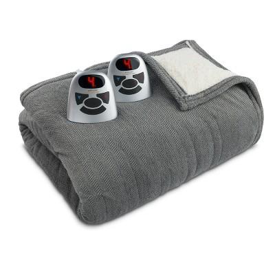 Microplush/Sherpa Electric Blanket (Queen)Gray Herringbone - Biddeford Blankets