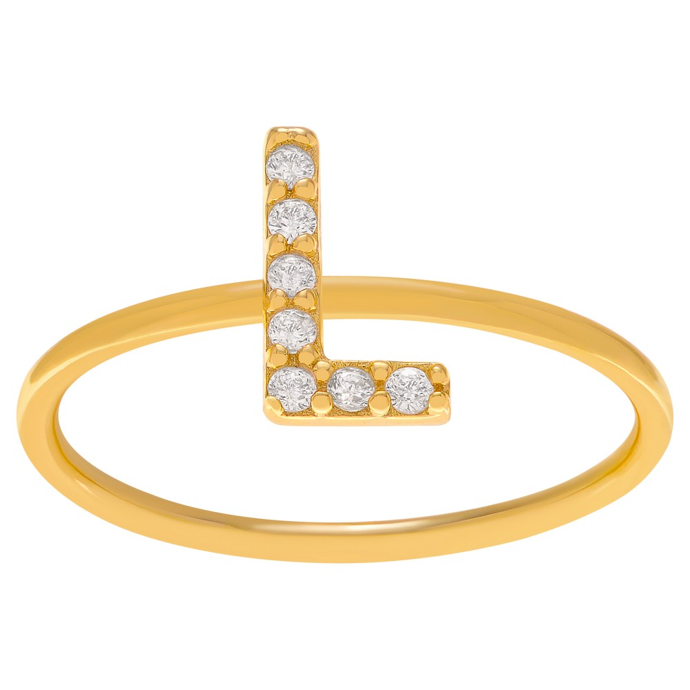 1/6 CT. T.W. Round-cut CZ Initial L Pave Set Ring in Sterling Silver - Gold, 8, Girl's, Gold Letter L