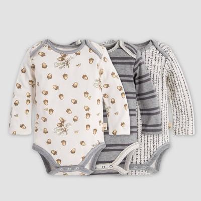 Burt's Bees Baby® Baby Organic Cotton Falling Acorns Bodysuit - Gray 12M