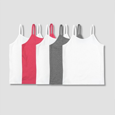 Girls' Hanes 5pk Camisole - White/Gray/Pink