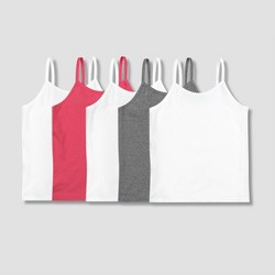 Girls' Hanes 5pk Camisoles - White/Gray/Pink