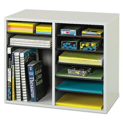 Safco Fiberboard Literature Sorter 12 Sections 19 5/8 x 11 7/8 x 16 1/8 Gray 9420GR