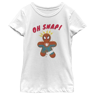 Girl's Marvel Christmas Spider-Man Snap Gingerbread Cookie T-Shirt