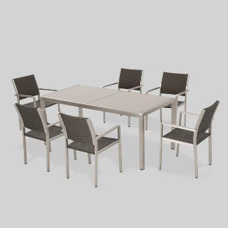Cape Coral 7pc Aluminum & Wicker Glass Outdoor Patio Dining Set - Silver/Gray - Christopher Knight Home