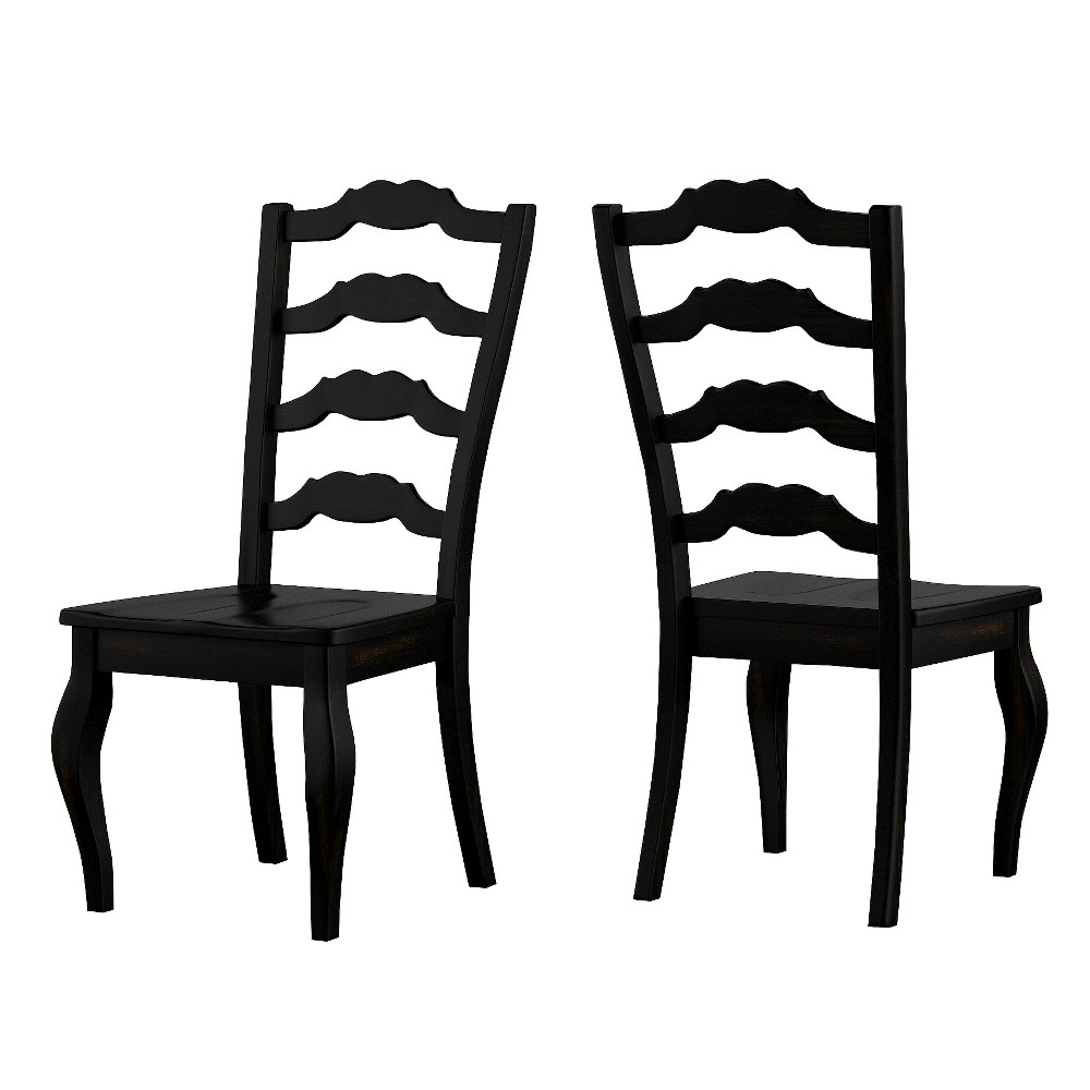 South Hill French Ladder Back Dining Chair (Set Of 2) - Antique Black - Inspire Q