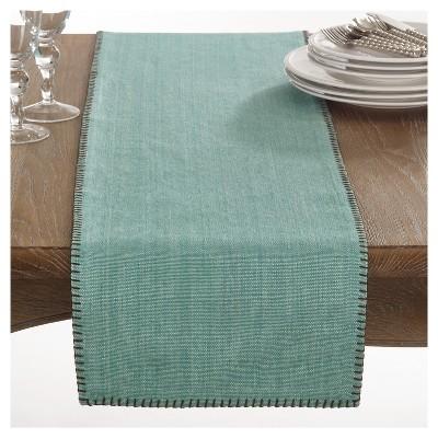 "Aqua Celena Whip Stitched Design Table Runner (13""x72"")- Saro Lifestyle"