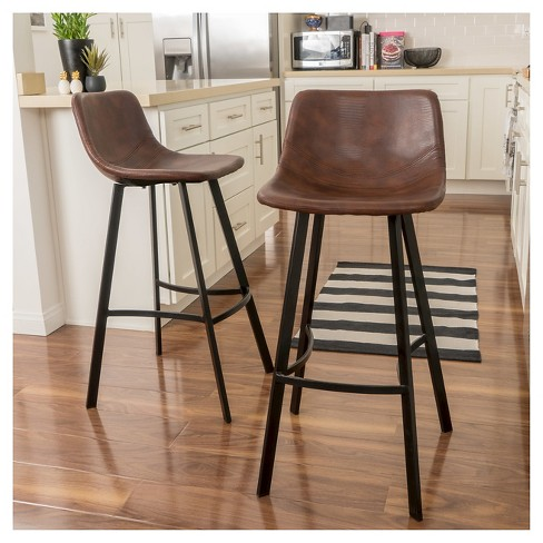 30 Dax Faux Leather Barstool Brown Set Of 2 Christopher Knight Home Target