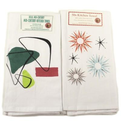 "Tabletop 24.0"" Mid Century Modern #1 Towel Set 100% Cotton Starburt Atomic Red And White Kitchen Company  -  Kitchen Towel"