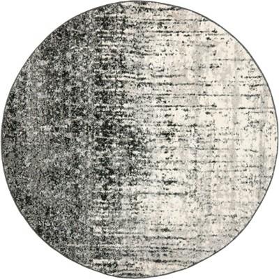4' Fleck Loomed Round Area Rug Black/Gray - Safavieh