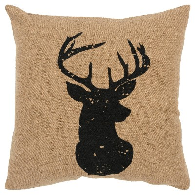 "20""x20"" Deer Stag Polyester Filled Pillow Natural - Rizzy Home"
