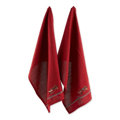 2pk Squirrelly Embellished Dishtowels Red - Design Imports