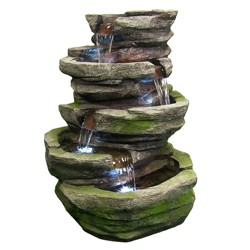 "31"" Lighted Cobblestone Waterfall Fountain with LED Lights - Sunnydaze Decor"