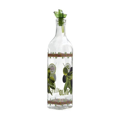 Grant Howard 16 Ounce Home Kitchen Hand Painted Olive Design Glass Oil Vinegar Cruet Bottle with Ergo Pourer for Salad Dressing and Dish Soap