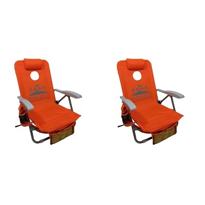 Kamp-Rite BC050 SAC-IT-UP Portable Reclining Folding Camping Patio Lounge Lawn Cornhole Beach Chair Seat w/ Backpack Straps & Holder, Orange (2 Pack)