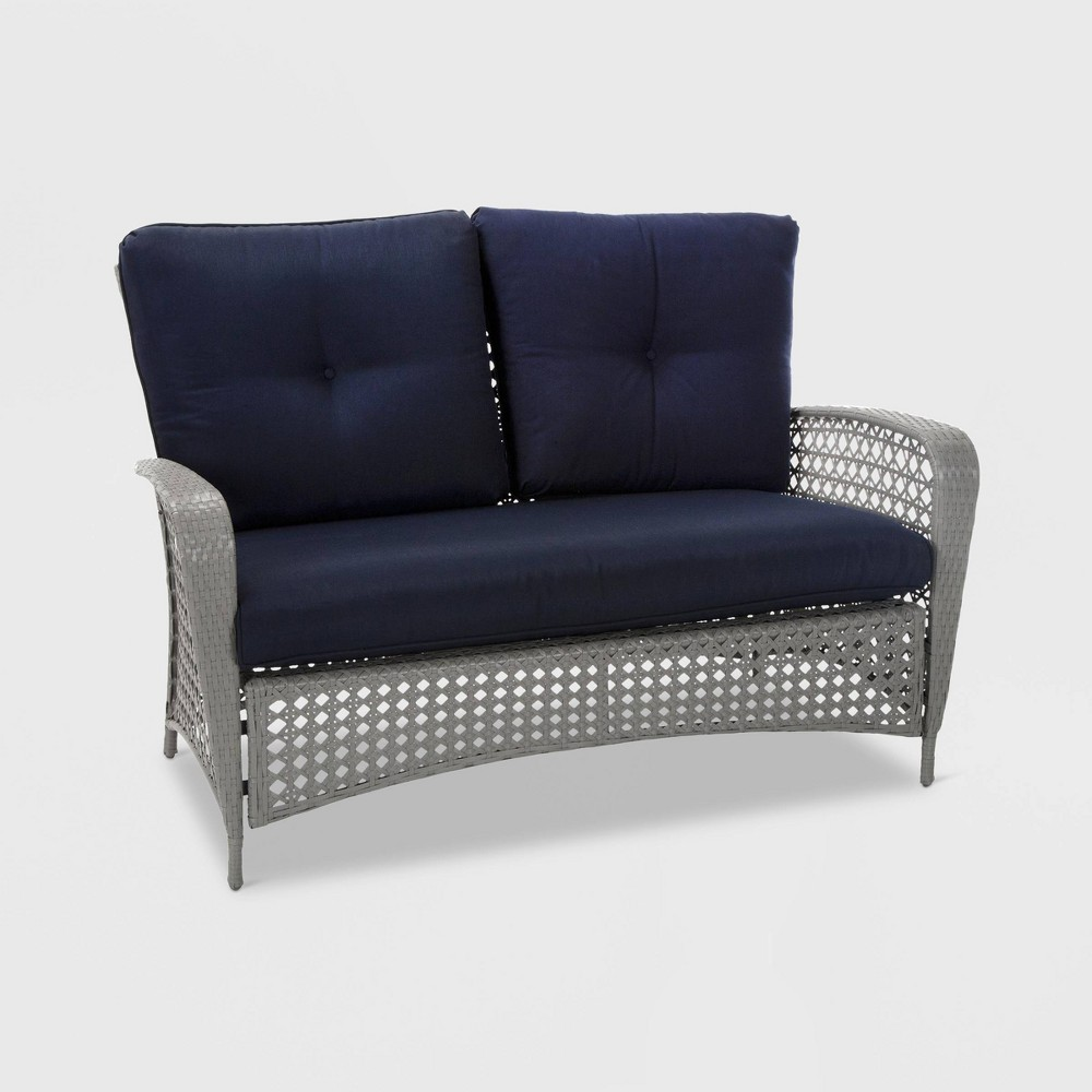 Lakewood Ranch 2pc Steel Woven Wicker Patio Loveseat and Coffee Table - Navy - Cosco, Gray & Navy