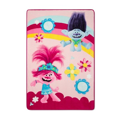 "Trolls 2 World Tour 62""x90"" Twin Poppy and Branch Bed Blanket"