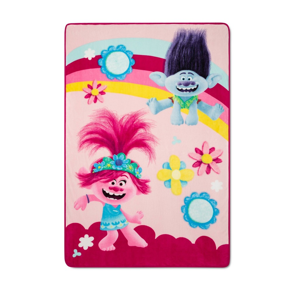 """Image of """"Trolls 2 World Tour 62""""""""x90"""""""" Twin Poppy and Branch Bed Blanket"""""""