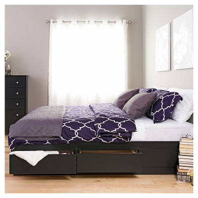 Mate's Platform 6 Drawer Storage Bed King Black - Prepac