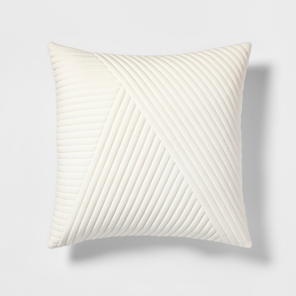Quilted Velvet Geo Oversize Square Throw Pillow Cream - Project 62