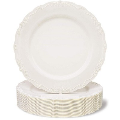 Juvale 25 Pack Disposable Plastic Dinner Plates Party Supplies, Cream with Fine Detailing (10 Inches)