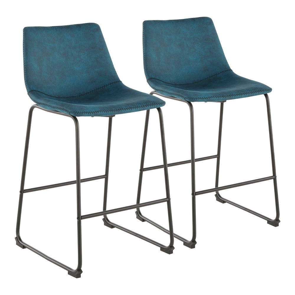 Set of 2 Duke 26 Industrial Counter Stool Black/Blue - LumiSource