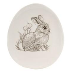 "Tabletop 8.25"" Sitting Bunny Plate Easter Tulips Burton & Burton"