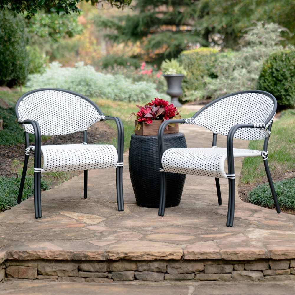 Image of 3pc Monticello All-Weather Wicker Bistro Set Black - Leisure Made