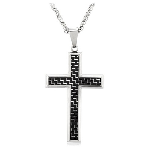 "Men's Crucible Stainless Steel Carbon Fiber Cross Pendant Necklace - Black/Silver (24"") - image 1 of 3"