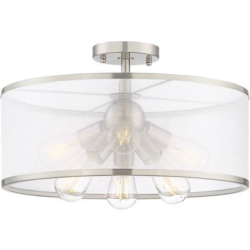 Possini Euro Design Modern Ceiling Light Semi Flush Mount Fixture Led Brushed Nickel 18 Wide 6 Light Organza Sheer For Bedroom Target