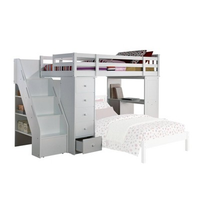Twin Freya Kids' Loft Bed with Bookcase White - Acme Furniture