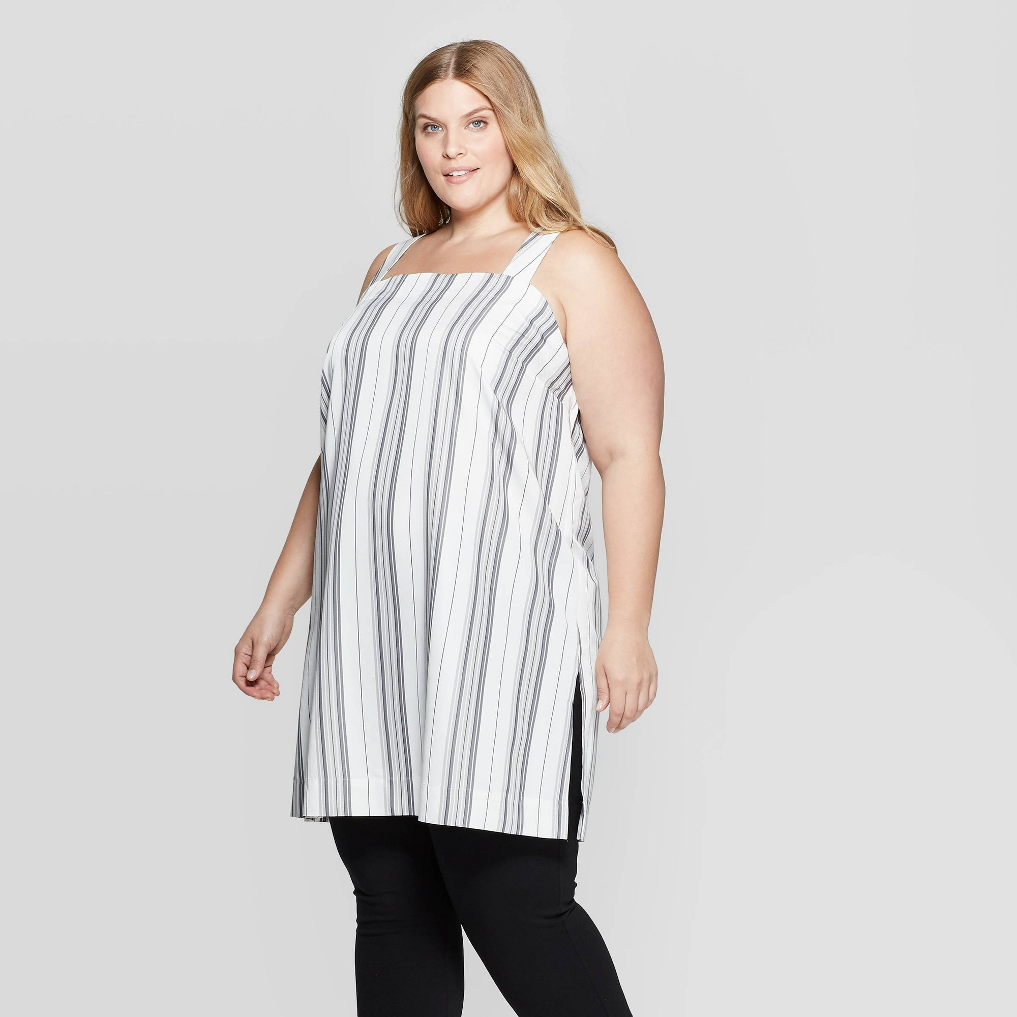 Women's Plus Size Striped Sleeveless Square Neck Stripe Tunic Blouse - Prologue Gray Stripe X, White