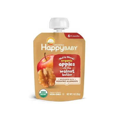 HappyBaby Nutty Blends Organic Apple & Walnut Butter Baby Food Pouch - 3oz