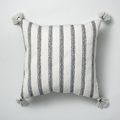 """18"""" x 18"""" Vertical Texture Stripes Square Indoor/Outdoor Throw Pillow Black/White - Hearth & Hand™ with Magnolia"""