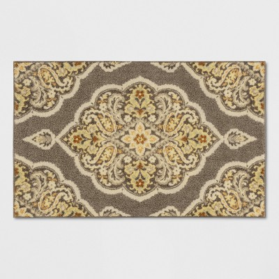 2'6 X3'10 /30 X46  Medallion Tufted Accent Rug Gray - Threshold™