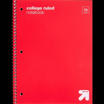College Ruled 1 Subject Flexible Plastic Cover Spiral Notebook - up & up™