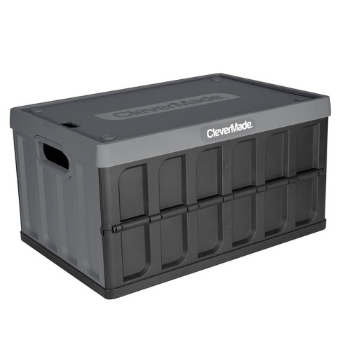 CleverMade 46L Storage Bin With Lid Charcoal - image 1 of 4
