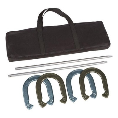 Trademark Innovations Powder Coated and Waterproof Steel Pro Horseshoe Set with Carry Case - Gold/Silver