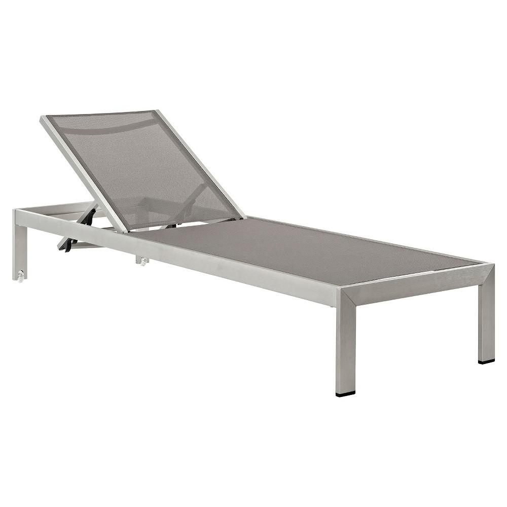 Shore Outdoor Patio Aluminum Mesh Chaise - Silver/Gray - Modway