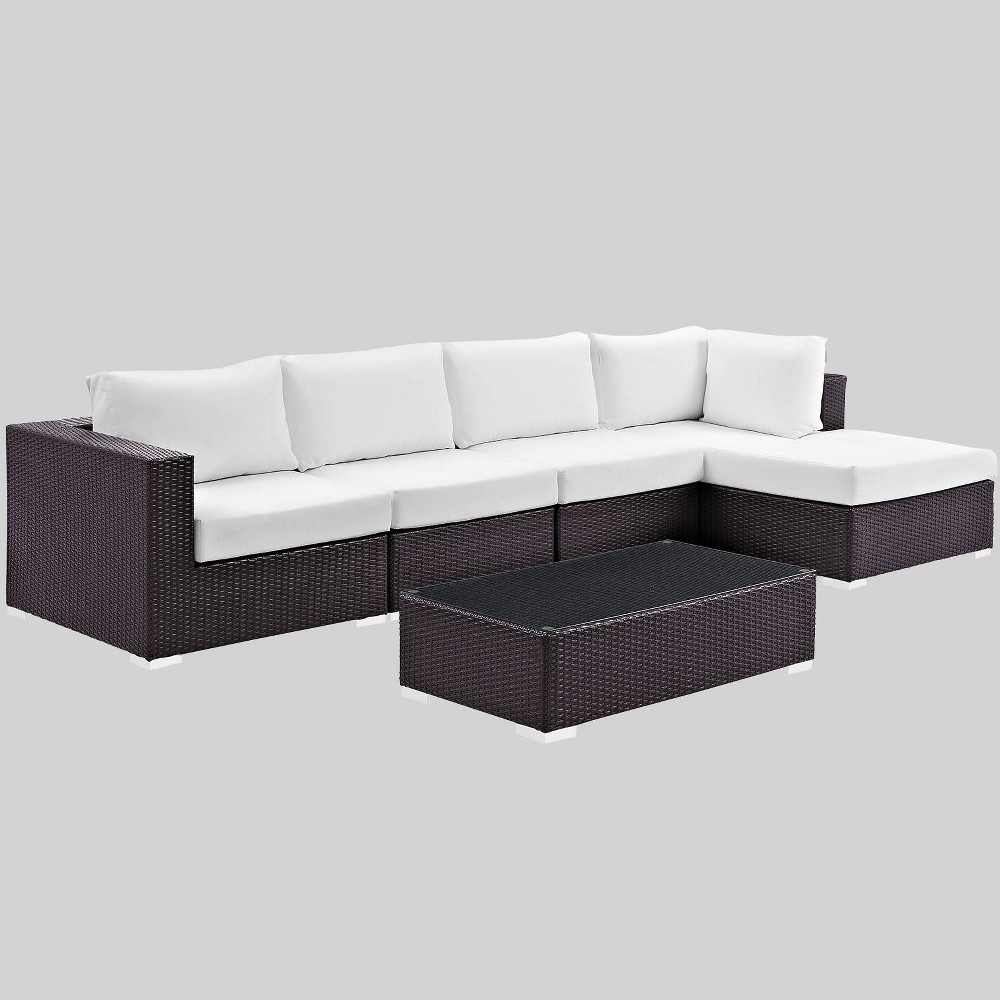Convene 5pc Outdoor Patio Sectional Set - White - Modway