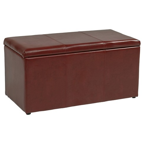 3 Piece Eco Leather Ottoman Red - Office Star - image 1 of 2