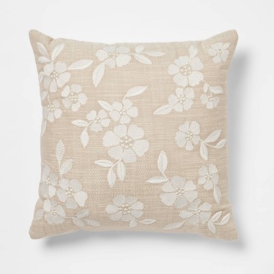 Square Embroidered Decorative Throw Pillow Tan/Cream - Threshold™