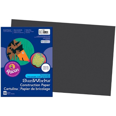 SunWorks Heavyweight Construction Paper, 18 x 24 Inches, Black, 50 Sheets