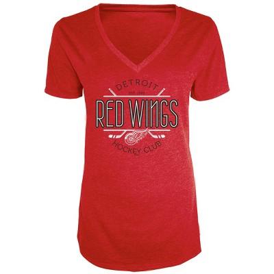 NHL Detroit Red Wings Women's Blade V-Neck T-Shirt L