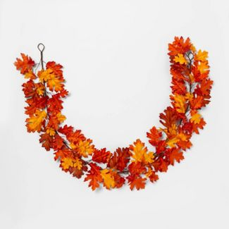 "72"" x 8"" Artificial Oak Leaf Garland Orange/Yellow - Threshold™"